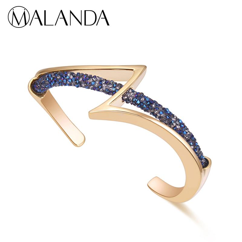 48e02d1ae0ee9 Malanda Brand Crystal From Swarovski Bracelets Bangles For Women 2018 New  Luxury Bracelet Wedding Party Office Jewelry Girl Gift C19041302