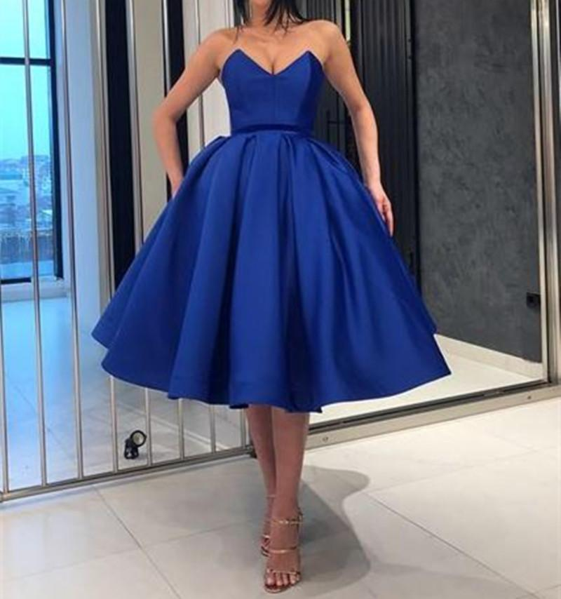 46f6d50546d Royal Blue Satin Formal Party Dress Short Prom Evening Gown Homecoming Dress  Sue Wong Evening Dresses Summer Evening Dresses Uk From Feliru