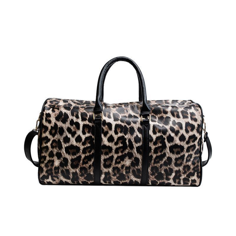 411a21dbb8f Leopardo Saco De Viagem De Impressão Duffle Totes Grande Capacidade Pu  Bolsas Trolley Sacos De Grande Para As Mulheres Femininas Viajar Saco De  Fim De ...