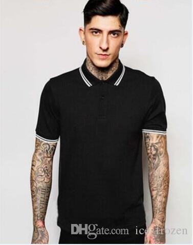 Top England Summer Style Polo Shirt Men Solid Collar Polo a strisce bianco affari di alta qualità del bicchierino del cotone Slim Sleeve T-shirt nere