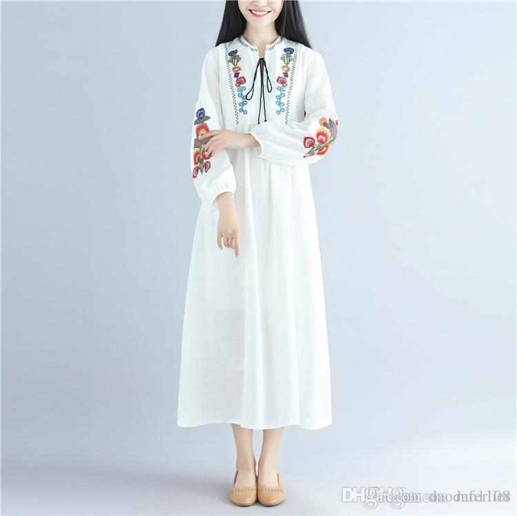 7cef02f3a1895 MFERLIER Spring Autumn dress for women Embroidery cotton linen Ethnic style  long sleeve v neck women dress