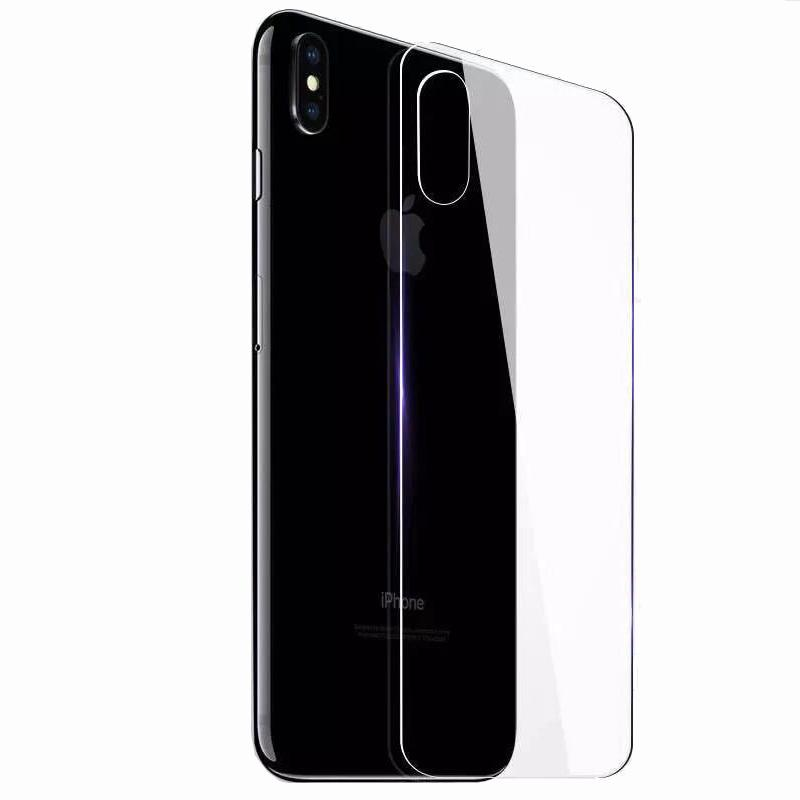newest f48c9 6d7d6 9H Back Tempered Glass For iPhone X Xs Max XR 7 8 Plus Housing Protector  Shockproof Film Back Door Protective Shield
