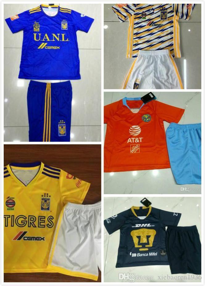new style 337db 7c1af Kids Third Orange Club America UNAM Soccer Jersey 19 Home Away Shirt  Football Uniforms youth Kit Chivas Guadalajara TIGRES UANL