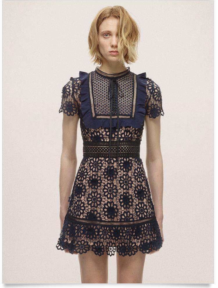 5227d109fb768 Women Self Portrait Lace Dress Fashion Luxury Elegant Summer Bow ...