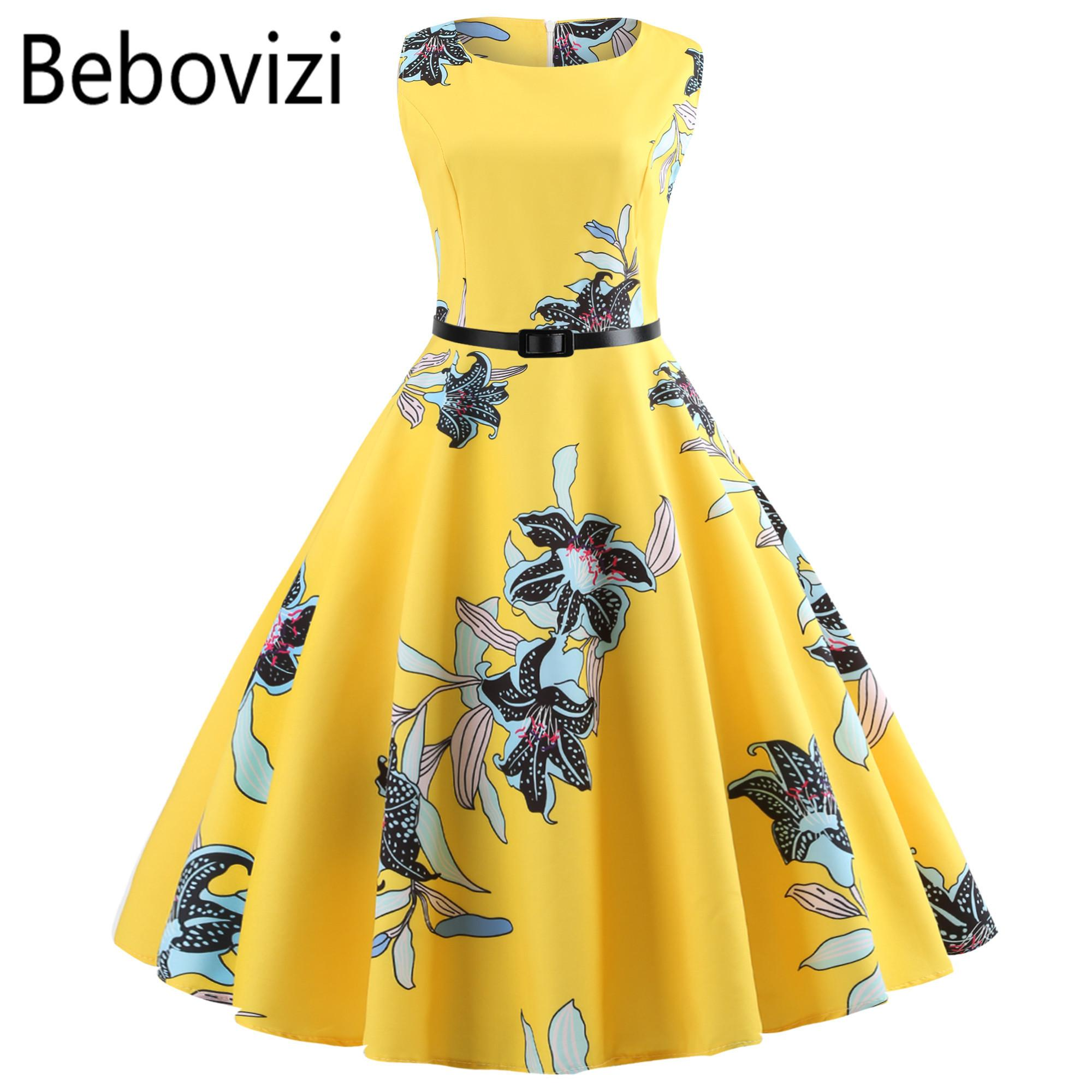 cb8e6d8b1020 2019 Yellow Women Dress New 2018 Casual Floral Elegant Retro Vintage 50s  60s Robe Femme Rockabilly Swing Pinup Vestidos Party Dresses Y19012201 From  ...