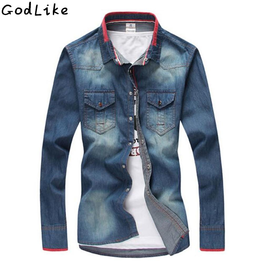 8653821d68 2019 2017 Men S Jean Shirt Men Denim Shirts Washable Slim Male Casual Denim  Shirt Long Sleeve Blue Size M 3XL Camisa Masculina From Humphray