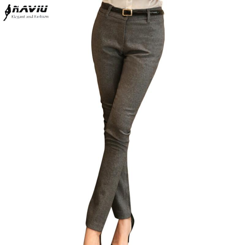 Spring Autumn Women Straight Pants Slim Formal Gray Black Trousers Office  Ladies Plus Size Work Pant Online with  39.02 Piece on Qiqiw s Store  34d13bdd8ef0