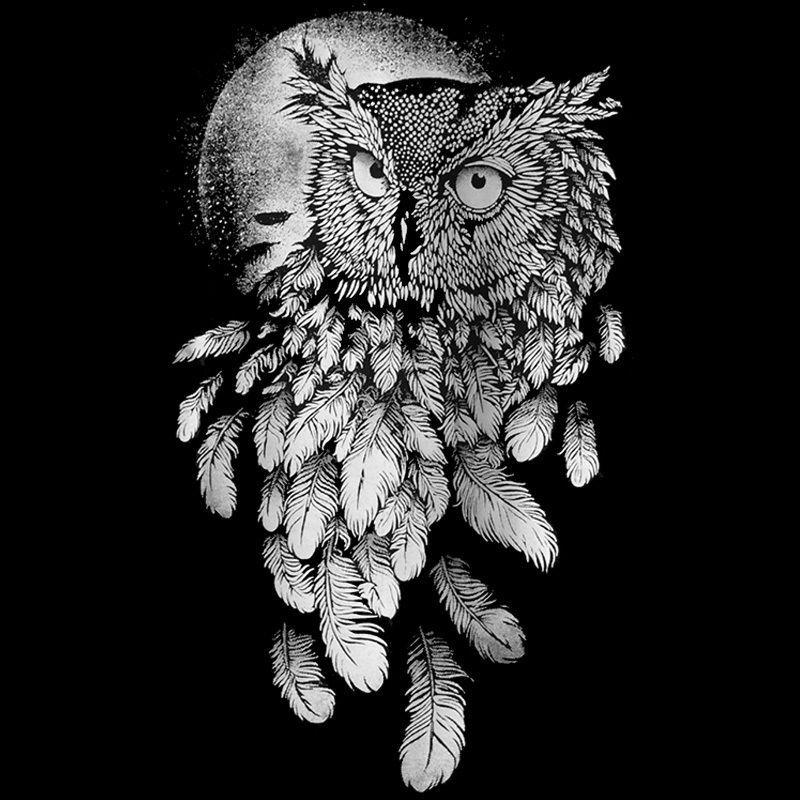 5683e02a20ac5 Купить Оптом Сова Графический Дизайн Искусство Полная Луна Мужская Футболка  Леса Природа Птица Бэнкси Tee S XXL Классическое Качество Высокая Футболка  С ...