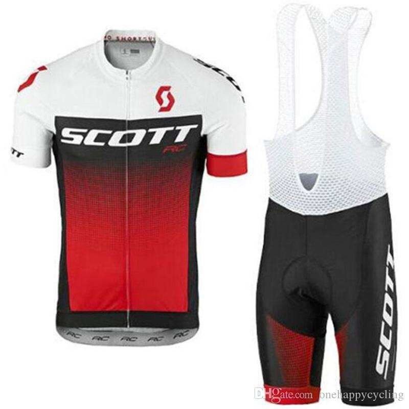 Triathlon pro team summer SCOTT cycling jersey Red white team bike wear clothes MTB Ropa Ciclismo pro cycling clothing mens short bib sets