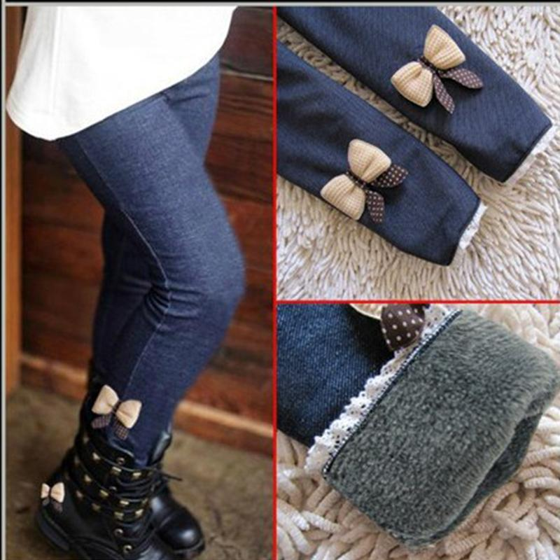 New AiLe Rabbit girls bow jeans cotton children cashmere pants kids warm elastic waist legging wholesale and retail