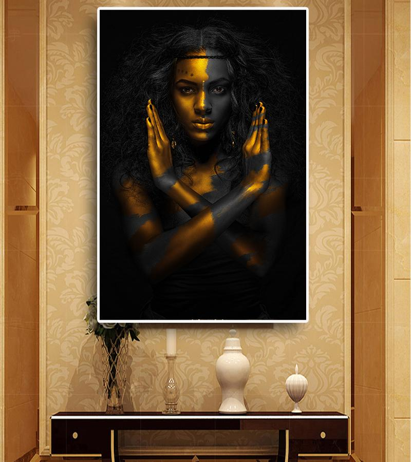 2019 Abstract Golden Crown Black African Women S Oil Paintings In Canvas  Posters And Printed Scandinavian Wall Art Pictures For The Living Room From  ... 00ed2a6c22