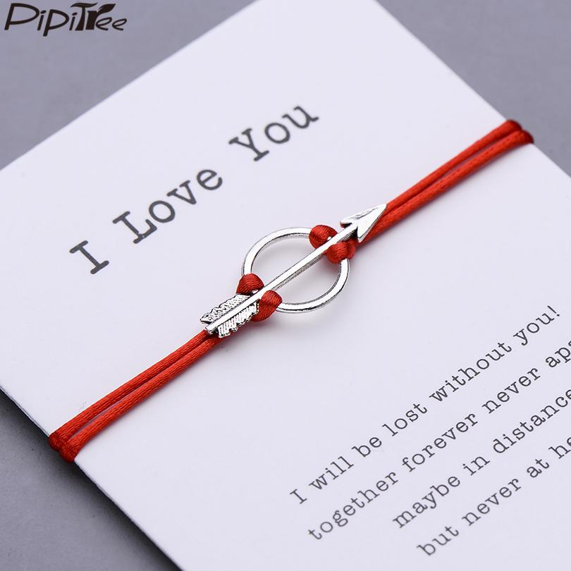 Pipitree Arrow Charm Bracelet Women Men Lovers' Couple Bracelets Wish Inspired Jewelry Red String Adjustable Braided Pulseras
