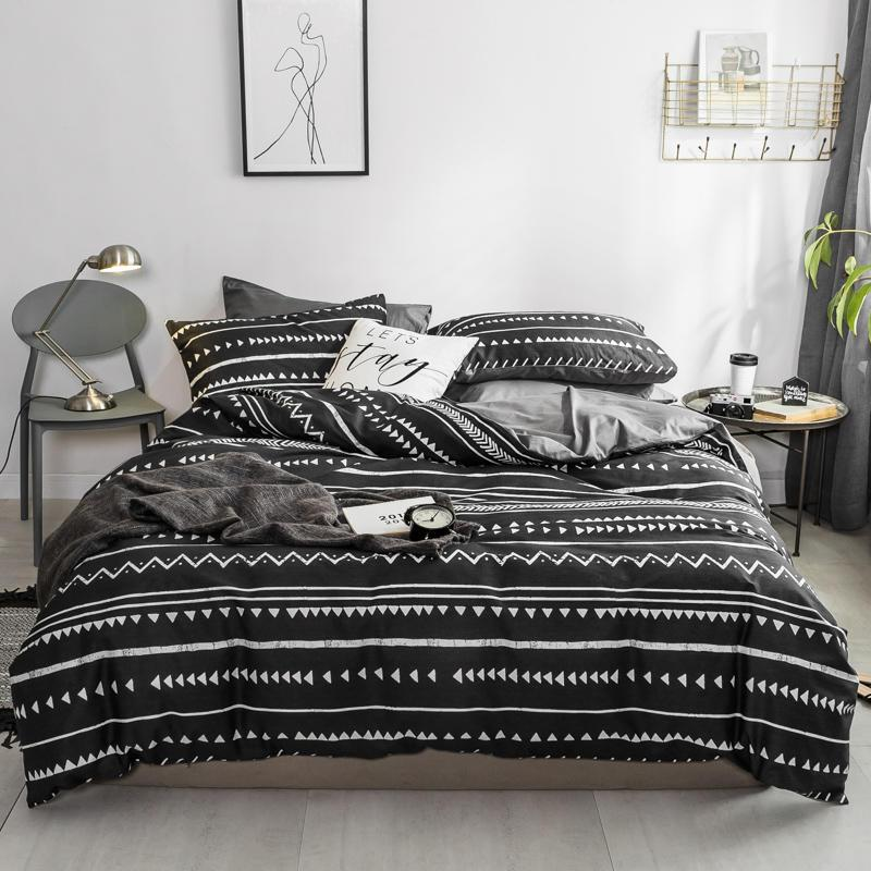 Funda Nordica King Size.100 Cotton Twin Queen King Bedding Set Black Grey Bed Sheet Set Flat Fitted Sheet Duvet Cover Funda Nordica Cama Parure De Lit
