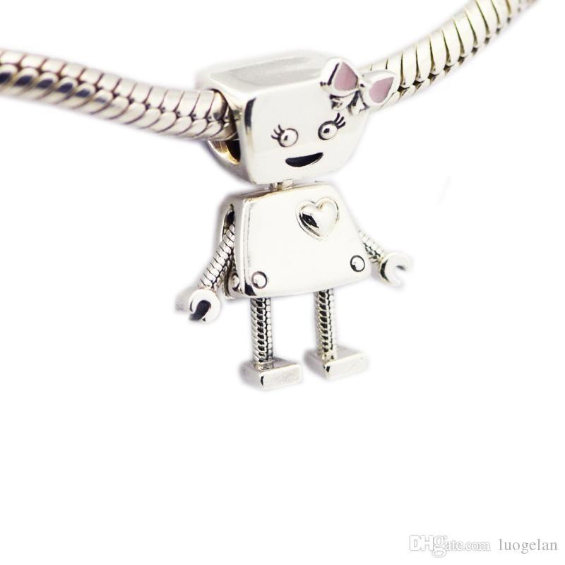 2018 Spring New 925 Sterling Silver Bella Robot Charm Pink Enamel Bead Fits Pandora Bracelet DIY for Women Jewelry Accessories