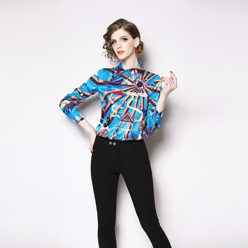 05a93a2d2082 2019 Elegant Colorful Long Sleeve Casual Shirt for Women Single ...