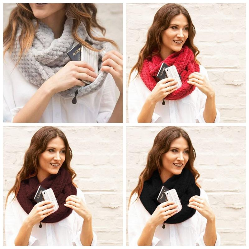 Fleece Zipper Pocket Scarf Infinity Loop Scarf Women Fashion Knit Cowl Scarves Solid Winter Soft Warm Ring Wraps Party Favor GGA1422