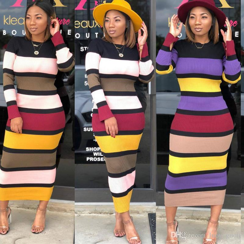 Women Striped Maxi Dress Autumn Elegant Long Knitted Dresses Casual Slim  Long Sleeve Ribbed Bodycon Dress Party Vestidos Winter Warm Dress Ball  Dresses ... cd6756972ca0