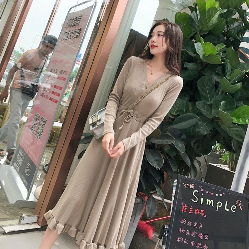 3be9ebb39 Compre 2019 Novas Mulheres Elegantes Vestidos De Malha Outono ...