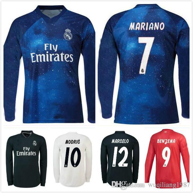 aeacefee57e 2019 2018 19 Real Madrid Long Sleeve Soccer Jersey Sergio Ramos Ronaldo  Kroos Bale Marcelo Asensio Isco Modric Custom White Black Football Shirt  From ...