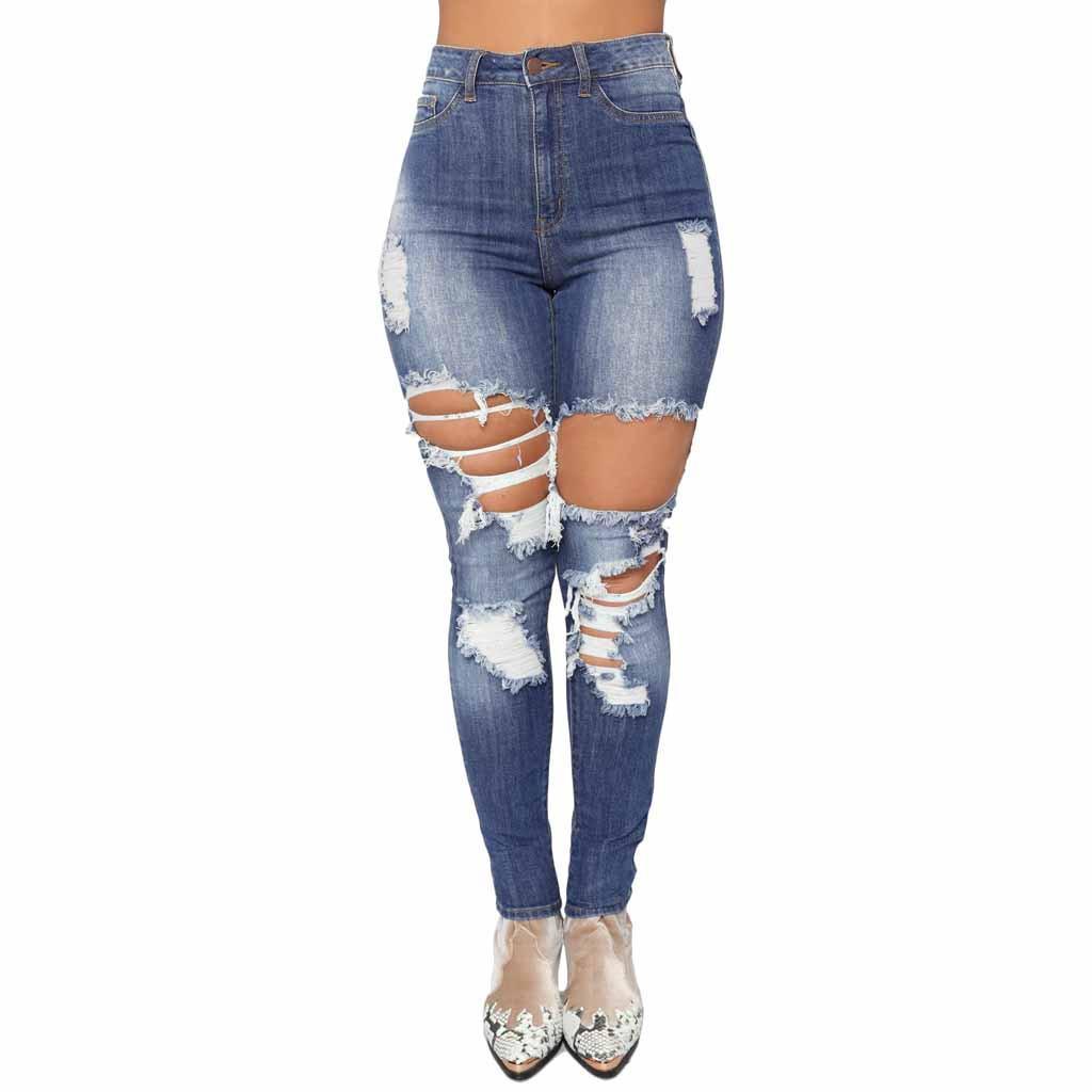 414ab00c61c Hxroolrp Fashion Hole High Waist Jeans Women Stretch Pants Pour ...