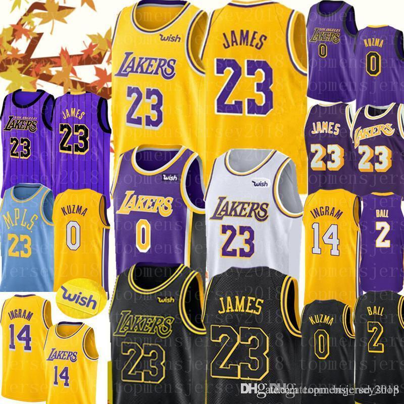 premium selection a89b8 40542 2019 Los Angeles 23 LeBron James Lakers jerseys Mens Lonzo 2 Ball Kyle 0  Kuzma Brandon 14 Ingram Kobe 24 Bryant Basketball City