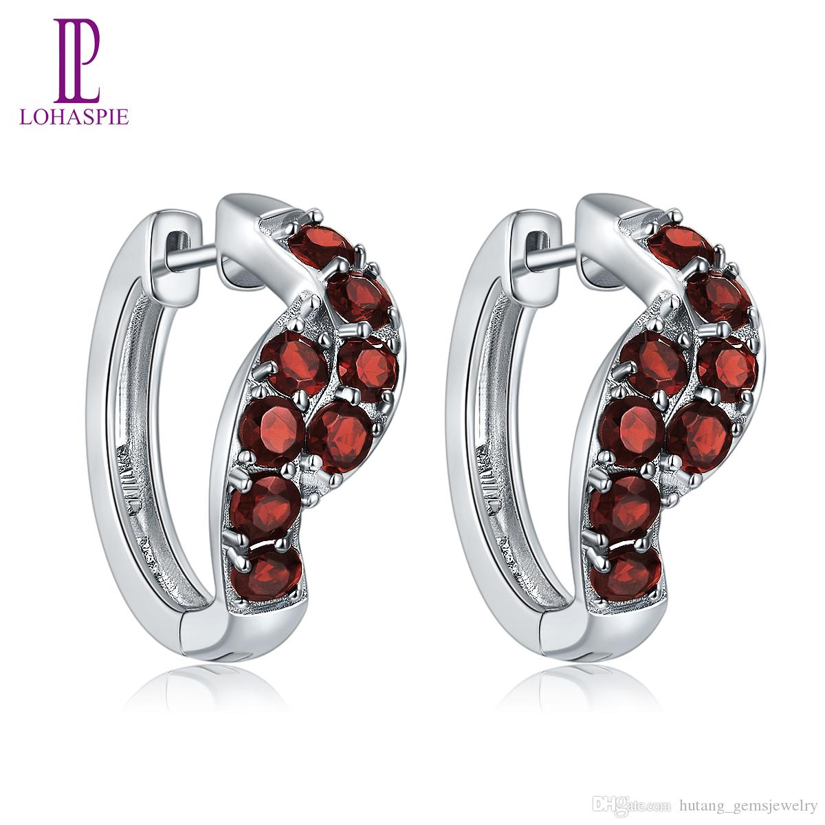 Hoop Huggie Earrings for Women Solid 925 Sterling Silver 2.24ct Natural Gemstone Round Red Garnet Fine Fashion Jewelry White Gold Plated New