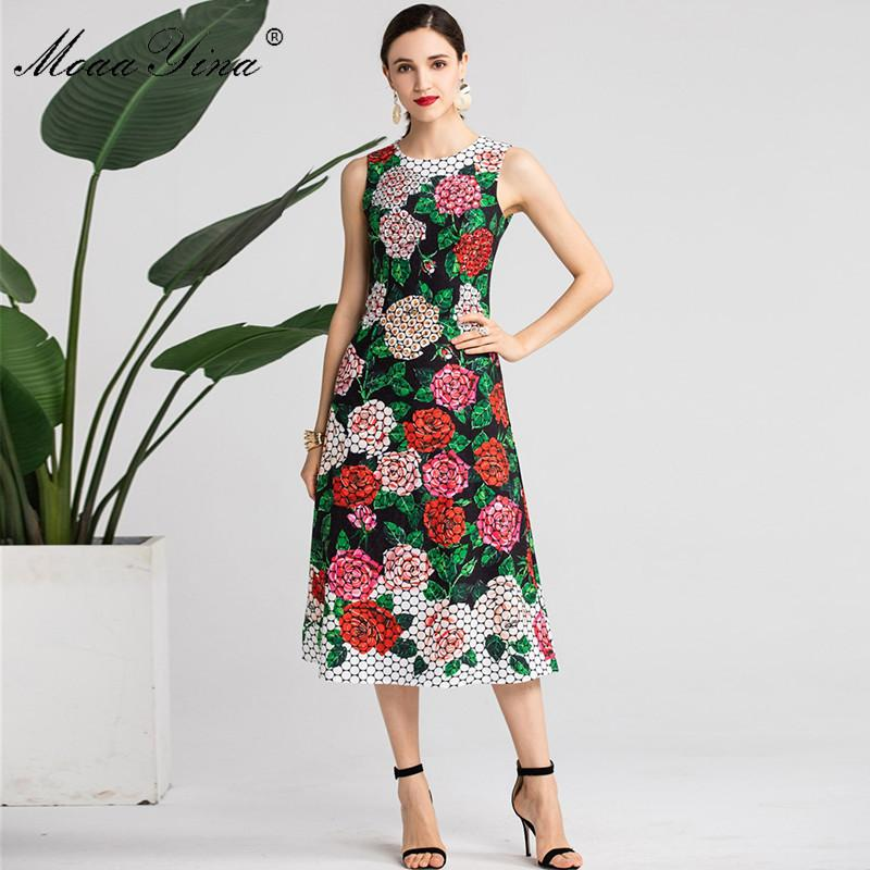 6a6aa22f25011 MoaaYina Fashion Designer Runway dress Spring Summer Women Dress  Floral-Print Crystal Diamond Midi Dresses