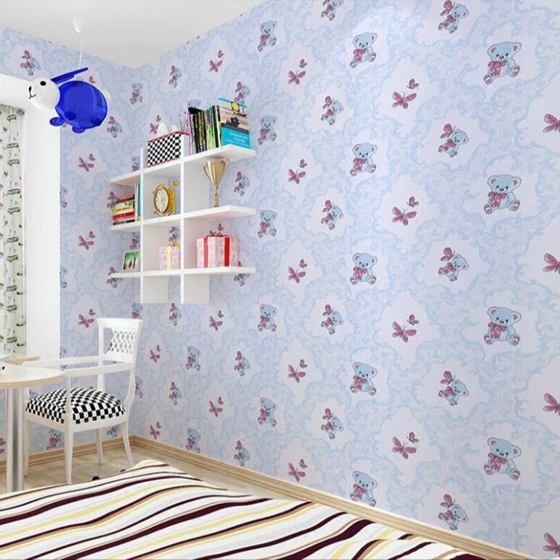 Self Adhesive Cartoon Bear Wallpaper Kids Rooms Wallpapers Children Bedroom  Decor Pink Green Pvc Wall Papers Home Decor Ez148