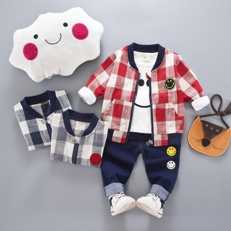 2018 Printemps Et Automne Costume De Mode Veste à Carreaux Smiley Costume à Manches Longues Pour Enfants Sweatshirt Pantalon Trois Pièces