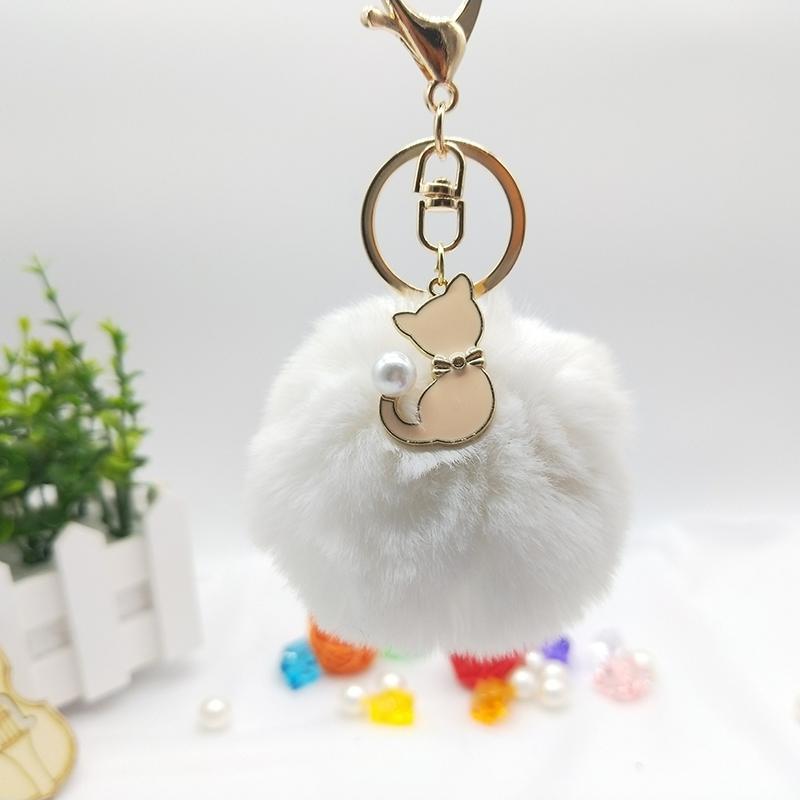 Artificial Fur Fluffy Cat Key Handbag Fur Ornament Key Handbag Ring Pendant Charm Cute Accessories Sale Price Bag Parts & Accessories