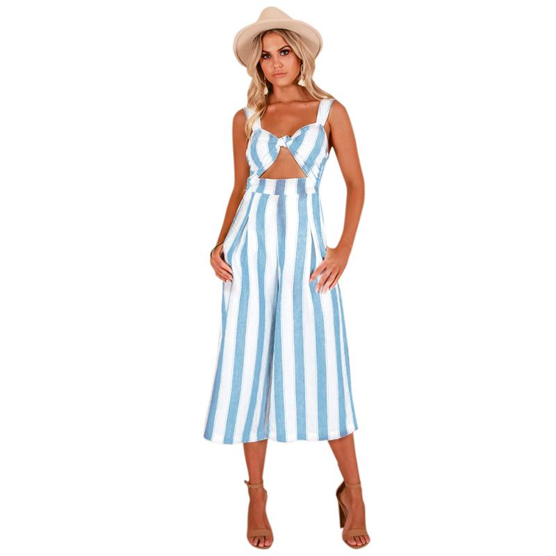 38c5bbae3ff2 2019 Women Sexy Jumpsuit Striped Print Hollow Out Backless Sleeveless  Combinaison Femme 2018 Summer Wide Leg Pants Playsuit Rompers From Bibei02