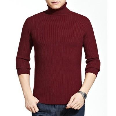 2019 Bboy Mocknecks Sweater Knitted Long Sleeve Men Mock Neck