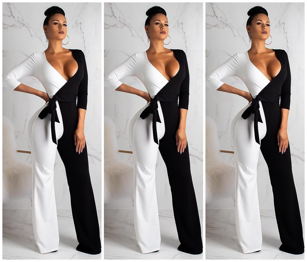 97bf7b9f1494 2019 Summer New European And American Models Jumpsuit Black And ...