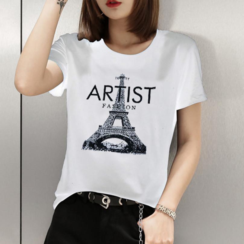 37819d9c9e 2019 Summer Women Tops Tees T Shirts Long Sleeve Casual Tunic Basic Shirt  Tops T Shirt Eiffel Tower Print Cotton Top Quality Interesting T Shirt  Purchase T ...