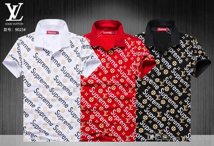 badb37af3 19ss Fashion Classic European Brand High Quality Men European Polo Short  Sleeve T-shirts Embroidery Tight Men Polos GG #3635 With Short Sleeves Big  Brand ...