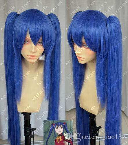 Fairy Tail Wendy Marvell Wig Dark Blue Double Ponytail Cosplay Costume Wigs