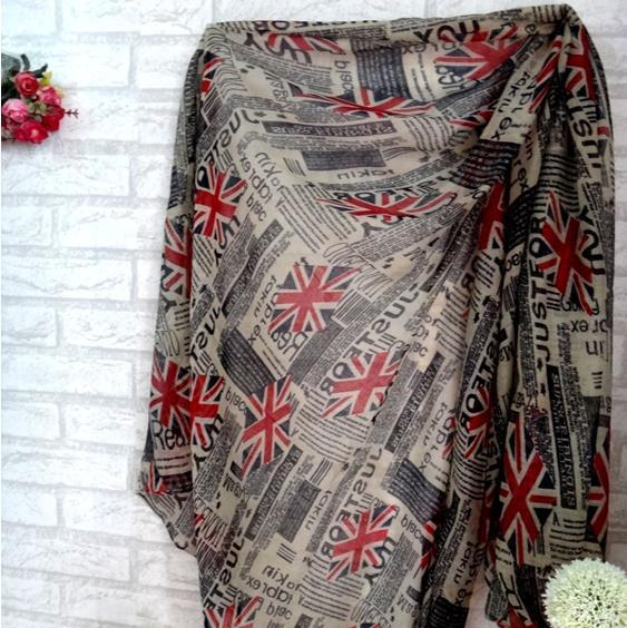 Wholesale-2019 New Fashion Newspaper Union Jack UK English Flag Print Scarf viscose cotton voile bali yarn scarf Shawl Wrap