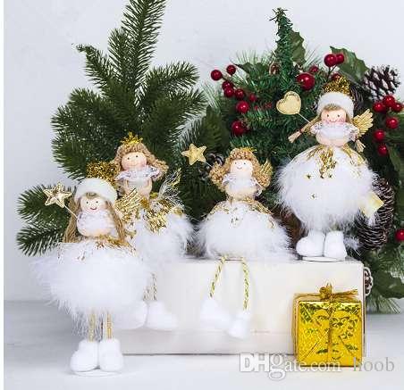 Grosshandel Entzuckende Weisse Engelsflugel Puppe Christbaumschmuck