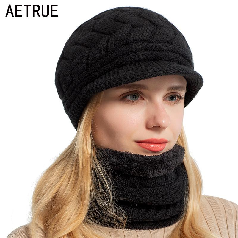 AETRUE Skullies Beanies Women Knitted Hat Scarf Female Winter Hats For Women  Bonnet Solid Balaclava Mask Feminino Beanie Hat Cap Y18120302 Beard Beanie  ... c76630cc290b