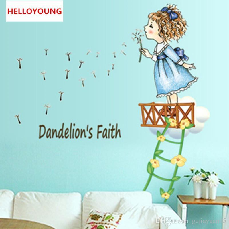DIY Home Decorative The Cute Girl Bedroom Wall Stickers Waterproof Rural Wallpapers Mural All-match Style