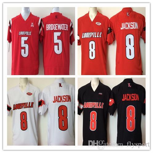 new product 7ccc5 3b056 Ncaa Louisville Cardinals Red 8 Lamar Jackson 5 Bridgewater 2017 New Style  Mens College Football Jersey Men Jerseys good qulity
