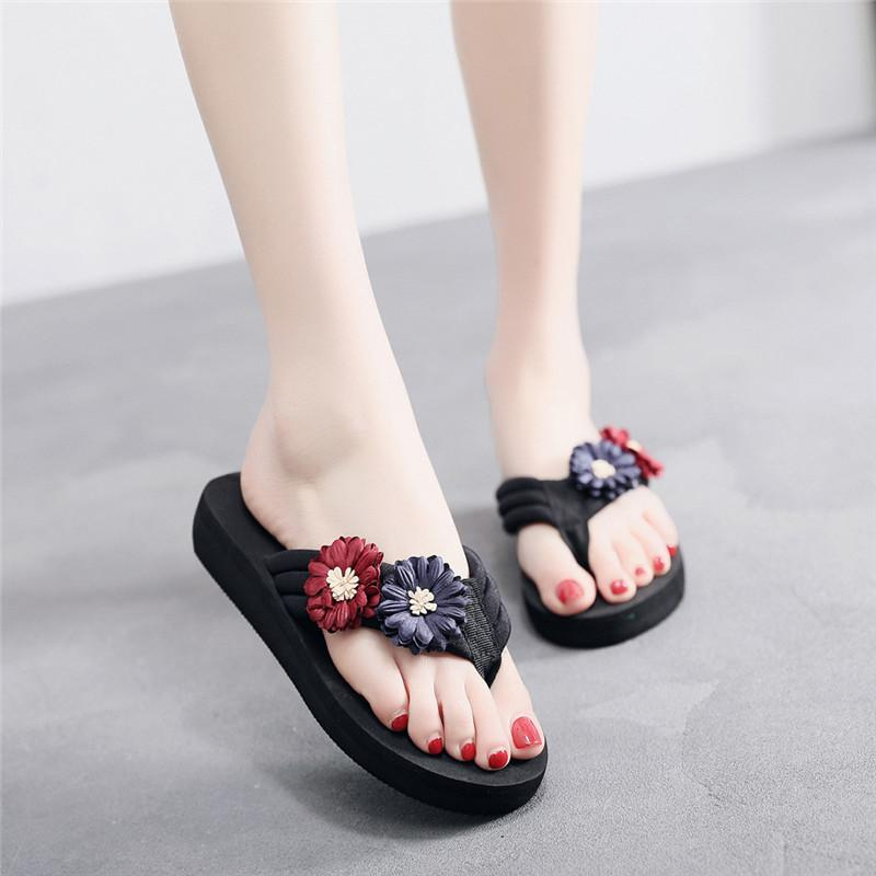 1c2039198b96 2019 New Summer Fashion Flower Home Wedges Platform Beach Slippers Sandals  Shoes Woman Slippers Casual Shoes Sandalias Mujer  40 Boots On Sale  Birkenstock ...
