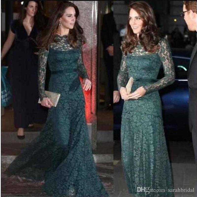 Formal Elegant Lace Evening Dresses Dark Green Long Sleeves Special Occasion Party Dresses KATE MIDDLETON Same Style Red Carpet Prom Dresses
