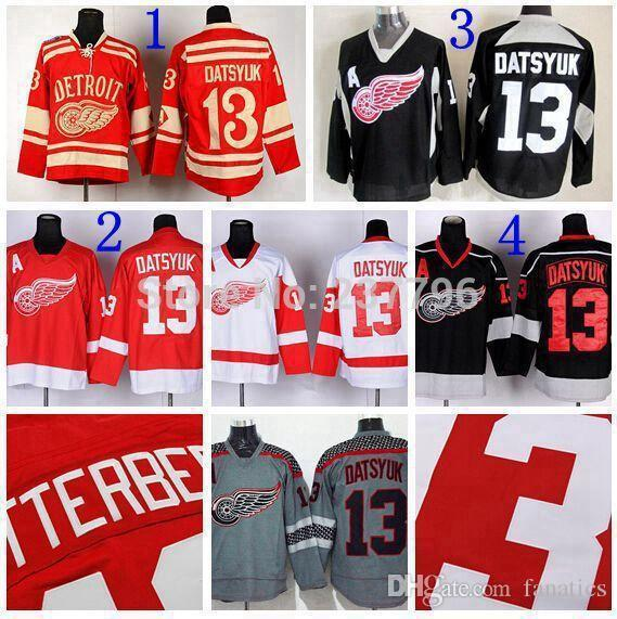 2016 Detroit Red Wings Jersey # 13 Pavel Datsyuk Ice Hokcey Jerseys Rojo Negro Blanco Gris Datsyuk Winter Classic Jerseys Mejor Calidad
