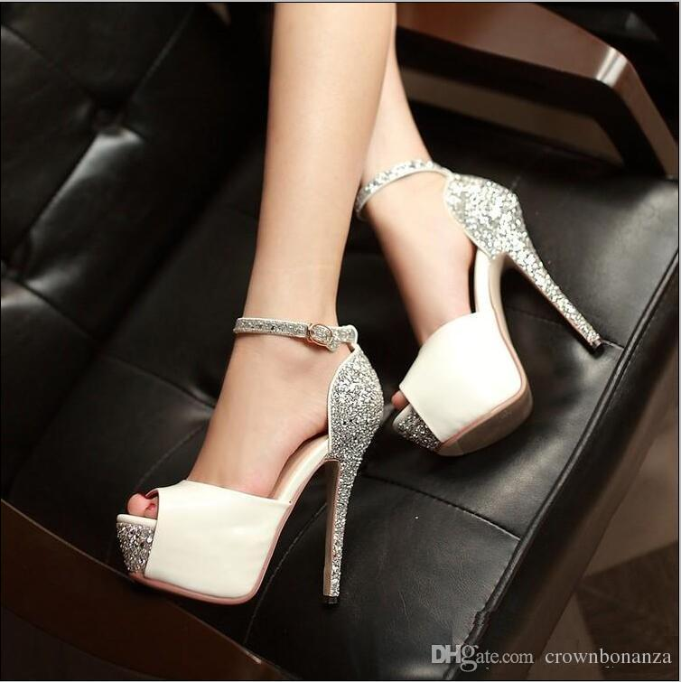 1154a344a2ed Glitter Sequined Ankle Strap High Platform Peep Toe Pumps Party Prom Gown  Wedding Shoes Women Sexy High Heels Size 34 To 39 Mens Dress Boots Men  Sandals ...