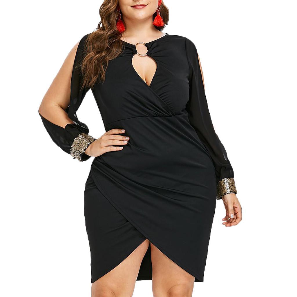 Plus Size Women Long Sleeve Sequin Dress Fashion Keyhole Neck Ring ...
