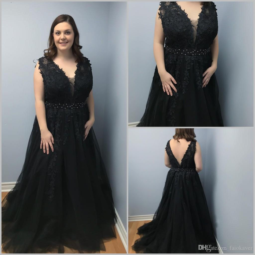 ee506ba3cc4ac Plus Size Evening Dresses Black Lace Appliqued Beads A Line Sweep Train  Prom Dress Long 2019 Custom Made Formal Party Gowns Wear