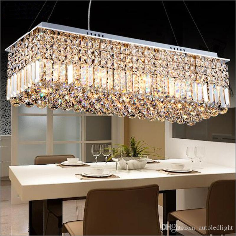 Merveilleux Crystal Droplight Modern Contemporary Rectangle Rain Drop Crystal Chandelier  For Dining Room Suspension Lamp Lighting Fixture Metal Chandelier Hanging  ...