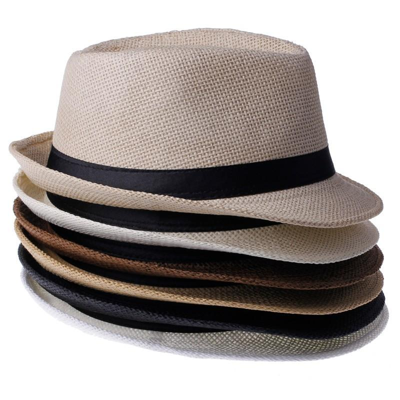 6f46ab782c9 2019 Hot Sale Trendy Unisex Fedora Trilby Gangster Cap For Women Summer  Beach Sun Straw Panama Hat Men Fashion Cool Hats Retail From Gaiming