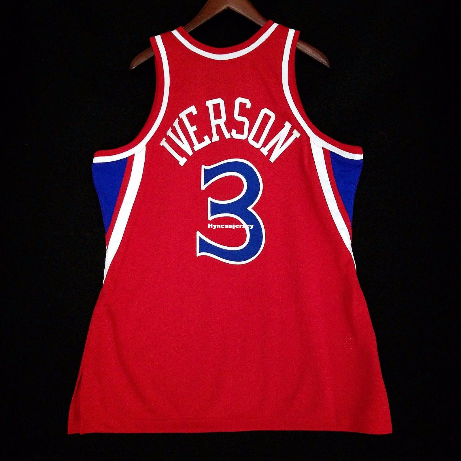 on sale 99406 ffb7b 100% Stitched Mitchell & Ness Allen Iverson #3 wholesale Red Jersey Mens  Vest Size XS-6XL Stitched basketball Jerseys Ncaa